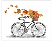 Autumn-Vintage  Bicycle art print, Bike poster, Mixed media Decorative art POSTER 8x10