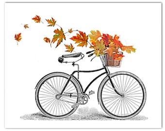 Autumn-Vintage  Bicycle art print, Bike poster, Mixed media Decorative art POSTER 8x10