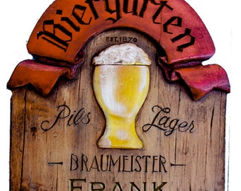 German Biergarten Personalized Beer Pub Sign