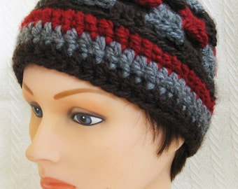 Granny Square Hat - Women's Hat Brown, Gray, Red