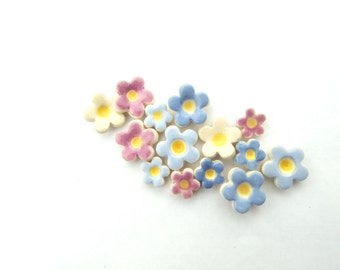 Forget-me-not earrings, pastel ceramic flowers, stud posts
