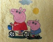 Yellow towel,washcloth,embroidered with Peppa pig and George,personalized with name of child,gift idea,for children