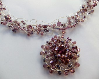 Purple and Lavender Wire Crochet Necklace with Flower Pendant