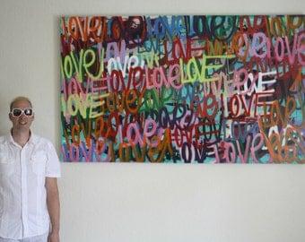 Original love art word art modern contemporary signed painting.