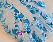 1 Curly Nagorie Feather Pads - Goose Feather Pad - White Turquoise