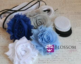 DIY Headband Making Kit - Winter Collection - Chiffon Frayed Flowers - Shabby Rose Trim - Flower Headbands - Blue White Silver