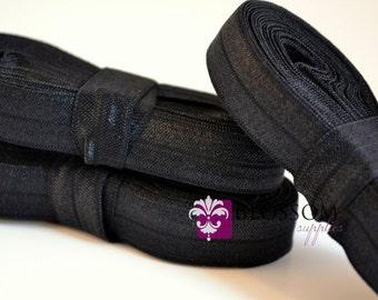 10 Yards BLACK 5/8 Inch Fold Over Elastic - Shiny FOE - Baby Headband Elastic - DIY Hair Ties - Cloth Diaper Supplies - Wholesale Supplier