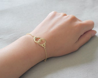 Delicate simple everyday handcuff gold bracelet