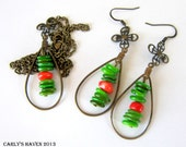 green mother of pearl, orange bamboo coral and brass necklace, earring set. ready to ship, gifts for women, gifts under 50