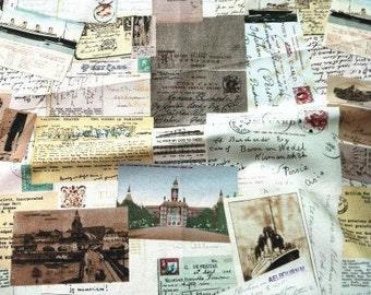 Retro Cotton Linen Fabric, Vintage Map fabric, Colorful Sensibility Postcard 1/2 yard  (QT201)