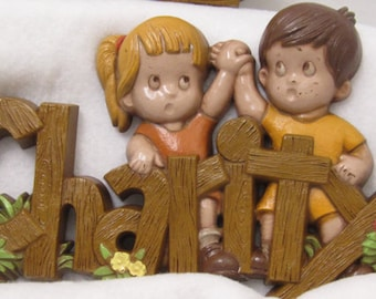 Vintage Faith Hope Charity Retro Faux Wood Grain Pressed Plastic Wall Plaques Made in USA c 1982