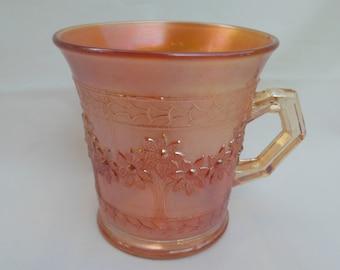 Marigold Carnival Glass Mug Orange Tree Iridescent Flowered Handled Cup
