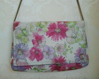 Vintage Frank More Floral Watercolor Purse with Gold Chain
