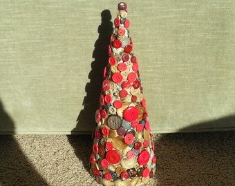 Handmade decorative multi colored brown  tan and red new and vintage button Christmas tree