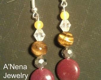 Earrings:Genuine Tigers eye, Mokalite,Jade , 925 Silver and Swarovski Crystal
