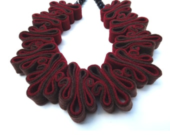 SALE Felt Necklace, Boho Jewelry, Bib Necklace, Eco Recycled, Deep Red Chocolate Brown Bead Necklace, Felt, Collar, Fashion Jewelry, Felted