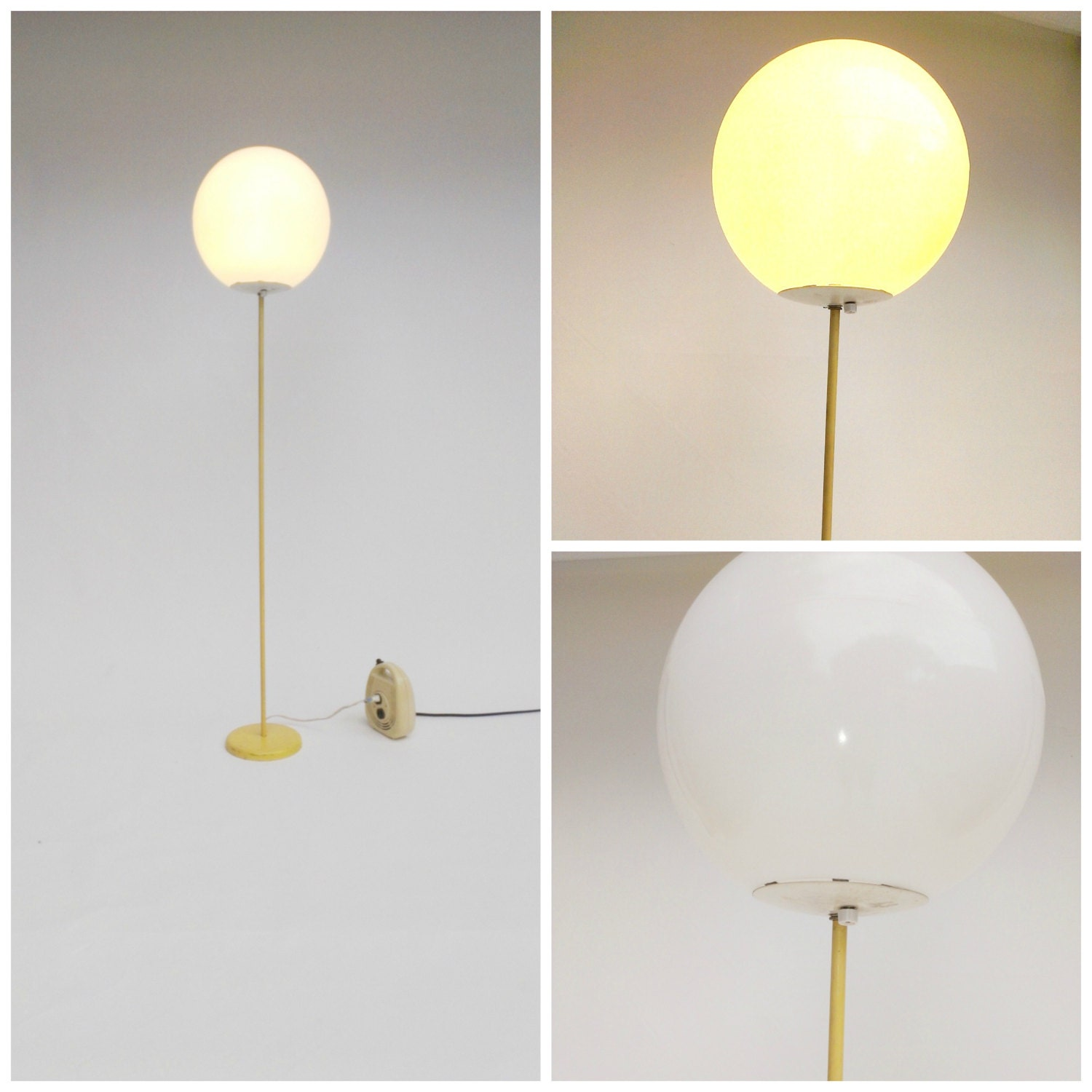Mid Century Modern Globe Floor Lamp Yellow Column Opaque