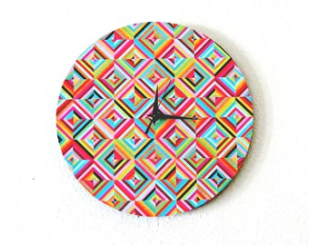 Retro Wall Clock  - Home Decor -  Quilt Design - Geoemtric Shapes- Home and Living - Trending Clock - Decor & Housewares