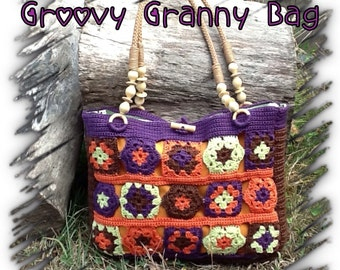 Groovy Granny Bag - pdf pattern for lined crocheted bag