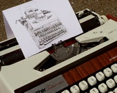 My Weapon of Choice Typewriter Art Greetings Card by Keira Rathbone