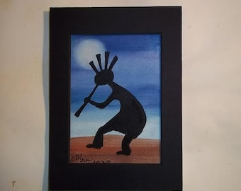 Kokopelli Moon Song, Original Watercolor, matted ooak