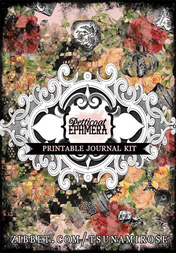 Printable Journal Kit - Petticoat Ephemera - 20 page Instant Download -  junk journal kit, digital download, journal pages