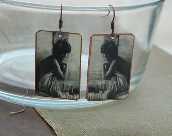 Pin Up Girl earrings Ziegfeld Follies mixed media jewelry