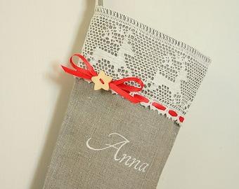 Personalized Burlap Christmas stocking