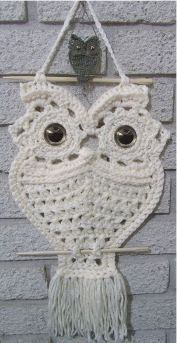 Crochet Owl Hanger In Macrame Style Instant Download Pdf From