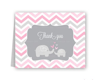 Pink and grey elephant baby shower thank you cards chevron elephant pink and grey PRINTABLE
