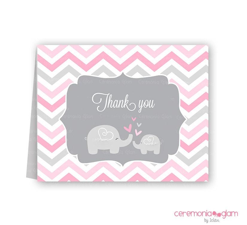 elephant thank you | etsy, Baby shower invitations