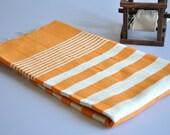 Peshtemal Towel Woven Turkish Towel Orange ivory striped for Bath and Beach use
