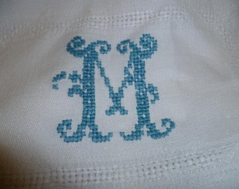 Vintage Tablecloth White Damask Linen, Monogrammed M French Circa 1940's