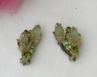 Earrings - Green Glass - Rhinestone - Clip On - Vintage