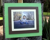 Distressed Picture Frame, 8x10 Frame, Rustic Picture Frame, Green Picture Frame, Painted Wood Frame, Wood Plank Frame