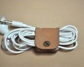 Brown Leather Earphone holder - vegetable leather - beige - tan brown leather- cable holder
