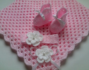 Crochet Baby Blanket, Headband and Baby Booties Set christening baptism gift girl baby pink white flower