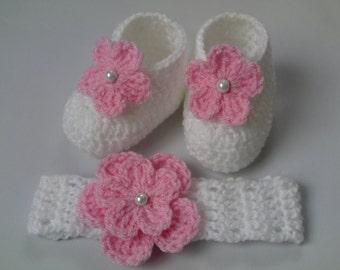 Crochet Baby Booties and Headband Girl Gift White Pink Flower