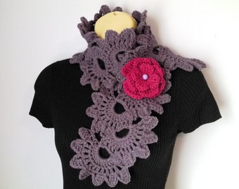 Crochet SCARF/ NECKWARMER with Crochet Flower Brooch women, шарф, sjaal, bufanda, cachecol, sciarpa, Schal, foulard, echarpe