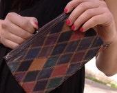 Vintage 70s handmade leather patchwork wallet, patchwor clutch