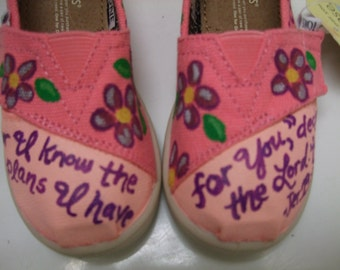 Custom painted Baby/Tiny/Toddler TOMS Shoes Bible Verse Jeremiah 29:11