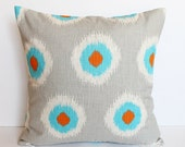 "CLEARANCE SALE!!!!! ONE Gray, Blue and Orange Modern Dots Pillow Cover - 18"" x 18"" Decorative Pillow Cover"