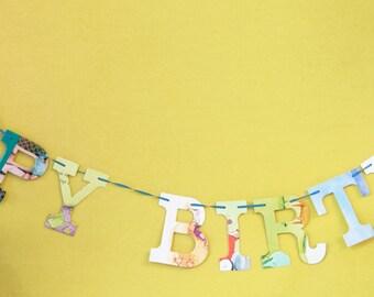 Happy Birthday -- Board Book Garland - Upcycled - Kit - DIY