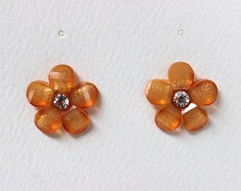 Orange Flower Pierced Stud Earrings With Crystal Rhinestone Centers