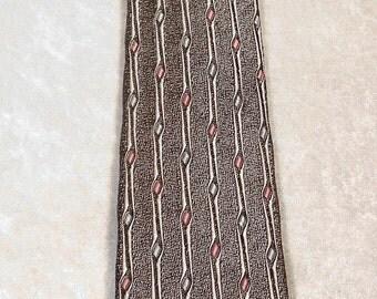 Necktie Narrow - Vintage in Black White Mint & Pink