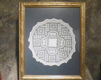 Bobbin Lace Wall Hanging from Brugge, Belgium in Florentine Style Frame
