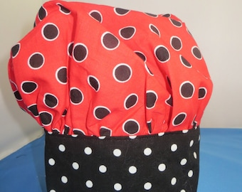 Chef Hat Red and Black Polka Dot Child's
