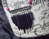 Black Howlite Spike Bead Necklace in Silver