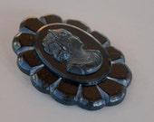Bakelite Cameo Brooch Carved Black Bakelite Celluloid Mourning Jewelry Victorian Revival 1940's // Vintage Jewelry