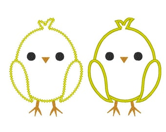 INSTANT DOWNLOAD Easter chick in both Satin and Vintage stitch Applique Design